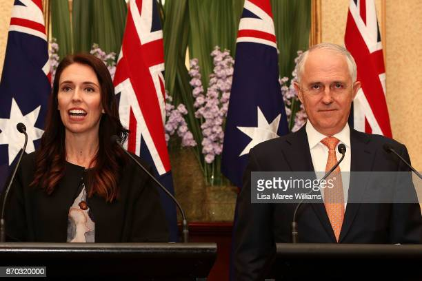 New Zealand Prime Minister Jacinda Ardern and Australian Prime Minister Malcolm Turnball attend a press conference at Kirribilli House on November 5...