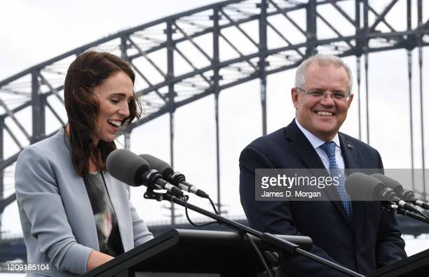 New Zealand Prime Minister Jacinda Ardern and Australian Prime Minster Scott Morrison speak to media at a press conference held at Admiralty House on...