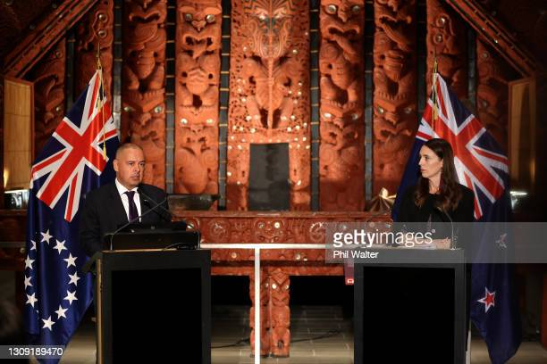 New Zealand Prime Minister Jacinda Ardern and Cook Islands Prime Minister Mark Brown hold a joint press conference at the Auckland War Memorial...