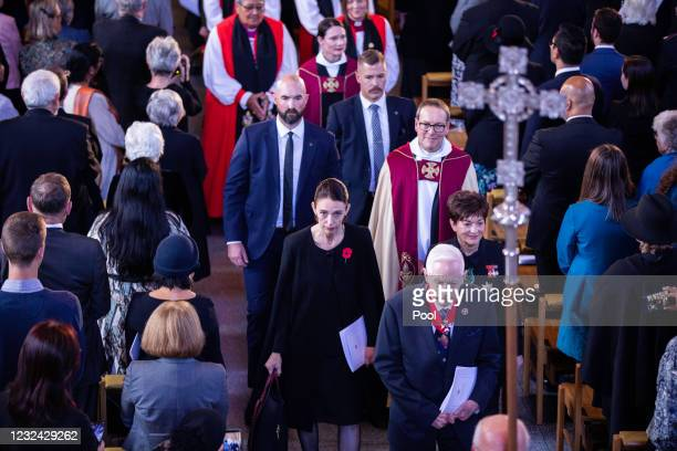 New Zealand Prime Minister Jacinda Ardern and Dame Patsy Reddy leave the State Memorial service for Duke Of Edinburgh, Prince Philip at the...