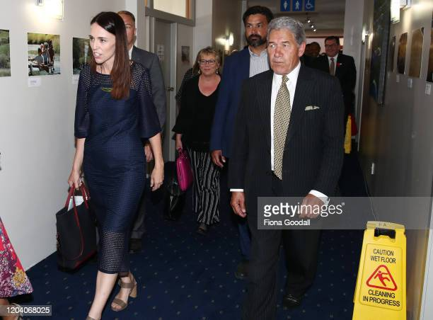 New Zealand Prime Minister Jacinda Ardern and Deputy Prime Minister Winston Peters with other ministers head into the Iwi Leaders Forum ahead of...