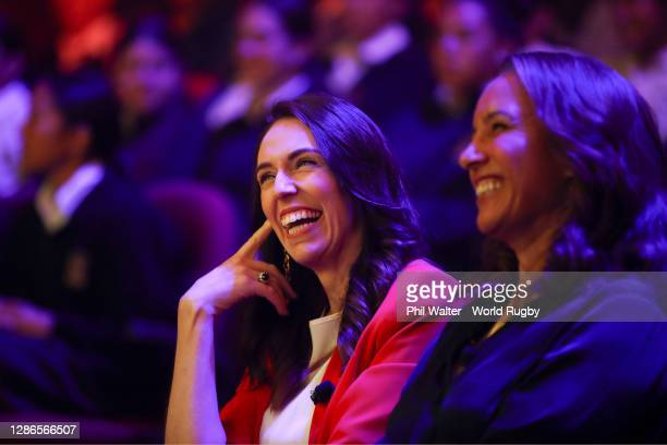 New Zealand Prime Minister, Jacinda Ardern, and Former Black Fern, New Zealand Rugby Board Member and World Rugby Hall of Fame Inductee, Farah...