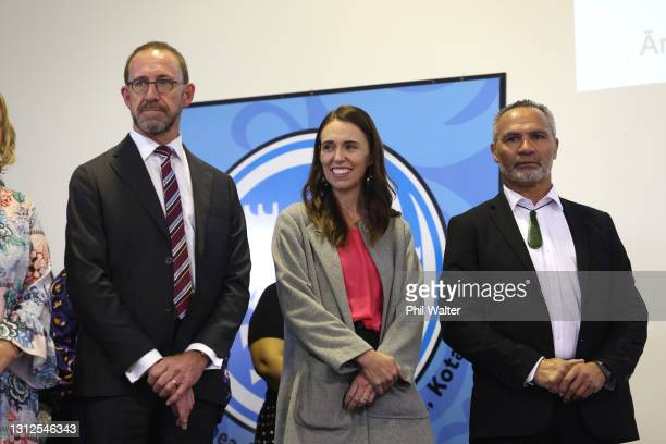 New Zealand Prime Minister Jacinda Ardern and Health Minister Andrew Little visit teachers and students at the Homai School in Manurewa on April 15,...