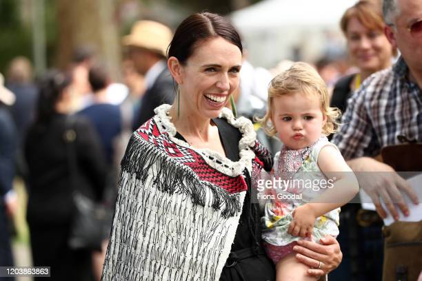 New Zealand Prime Minister Jacinda Ardern and her daughter Neve Gayford at the upper Treaty grounds at Waitangi on February 04, 2020 in Waitangi, New...