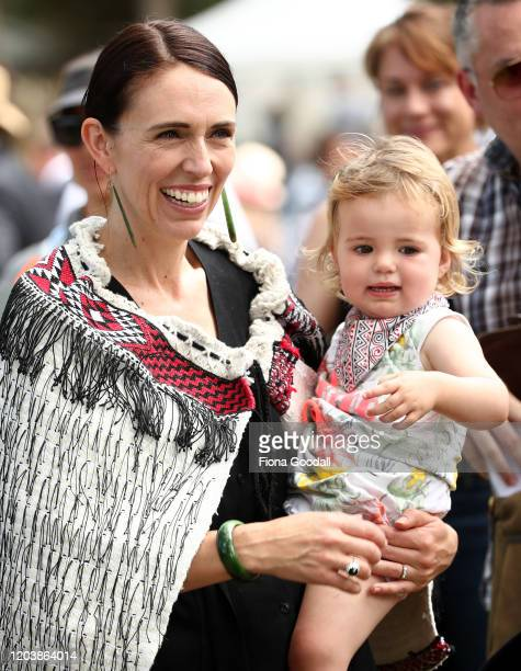 New Zealand Prime Minister Jacinda Ardern and her daughter Neve Gayford at the upper Treaty grounds at Waitangi on February 04 2020 in Waitangi New...