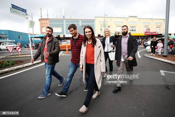 New Zealand Prime Minister Jacinda Ardern and her partner Clarke Gayford attend the Sandringham street festival on October 28 2017 in Auckland New...