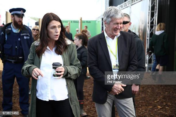 New Zealand Prime Minister Jacinda Ardern and Minister of Agriculture Damien O'Connor meet and greet during the Mystery Creek Fieldays on June 14...