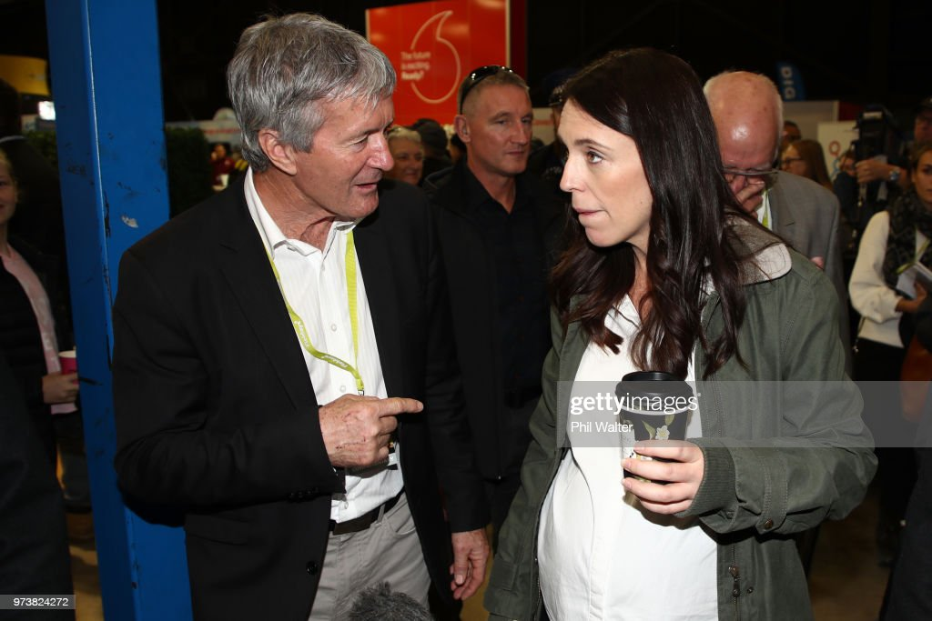 New Zealand Prime Minister Jacinda Ardern (R) and Minister of Agriculture Damien O'Connor (L) during the Mystery Creek Fieldays on June 14, 2018 in Hamilton, New Zealand. The public appearance is expected to be the Prime Ministers last before giving birth to her baby due on Sunday.