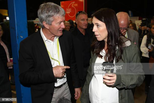 New Zealand Prime Minister Jacinda Ardern and Minister of Agriculture Damien O'Connor during the Mystery Creek Fieldays on June 14 2018 in Hamilton...