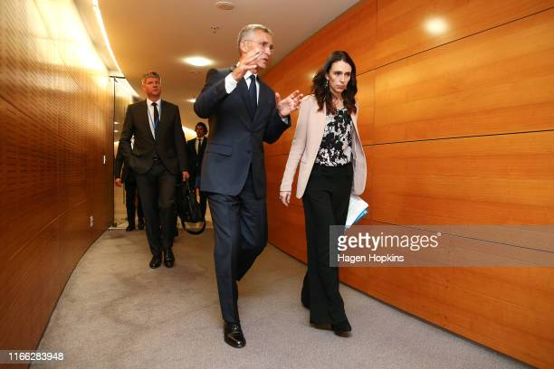 New Zealand Prime Minister Jacinda Ardern and NATO Secretary-General Jens Stoltenberg arrive at a press conference at Parliament on August 06, 2019...