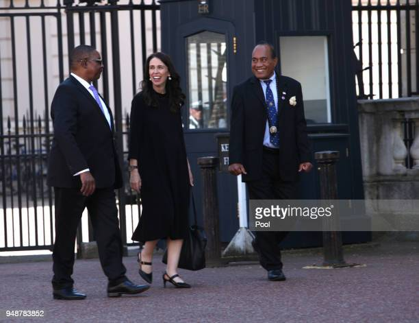 New Zealand Prime Minister Jacinda Ardern and other Commonwealth heads walk to Lancaster House on April 19 2018 in London England