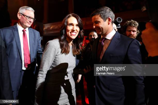 New Zealand Prime Minister Jacinda Ardern and partner Clarke Gayford embrace after speaking at the Labour Party 2020 election campaign launch on...