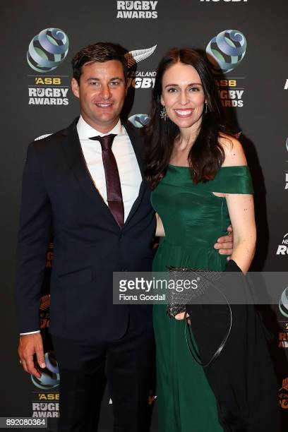 New Zealand Prime Minister Jacinda Ardern and partner Clarke Gayford on the red carpet during the ASB Rugby Awards 2018 at Sky City on December 14,...