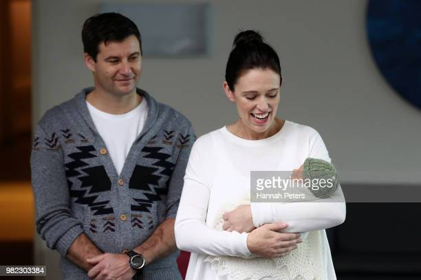 New Zealand Prime Minister Jacinda Ardern and partner Clarke Gayford pose for a photo with their new baby girl Neve Te Aroha Ardern Gayford on June...