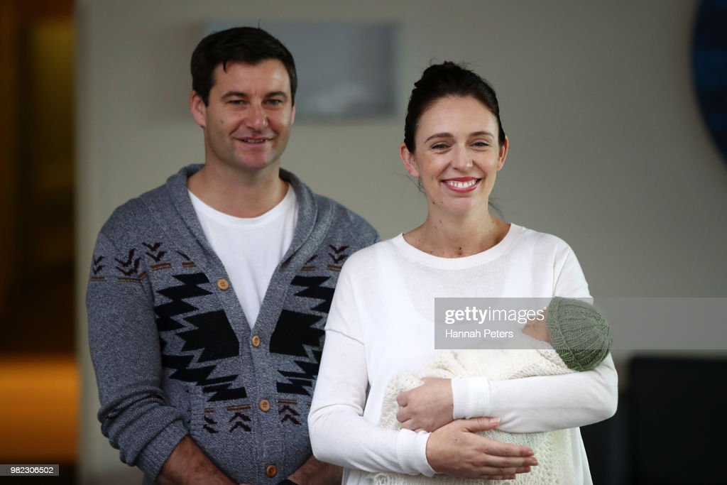 Prime Minister Jacinda Ardern Speaks To The Media After Birth Of Baby Girl : News Photo