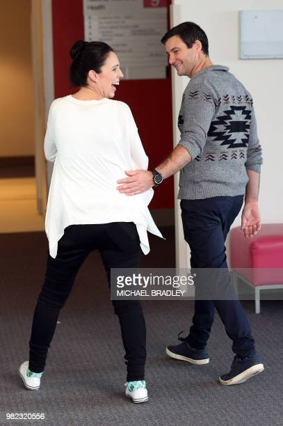 New Zealand Prime Minister Jacinda Ardern and partner Clarke Gayford and their baby daugther Neve Te Aroha Ardern Gayford leave after meeting the...