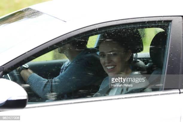 New Zealand Prime Minister Jacinda Ardern and partner Clarke Gayford leave hospital with their new baby girl Neve Te Aroha Ardern Gayford on June 24...