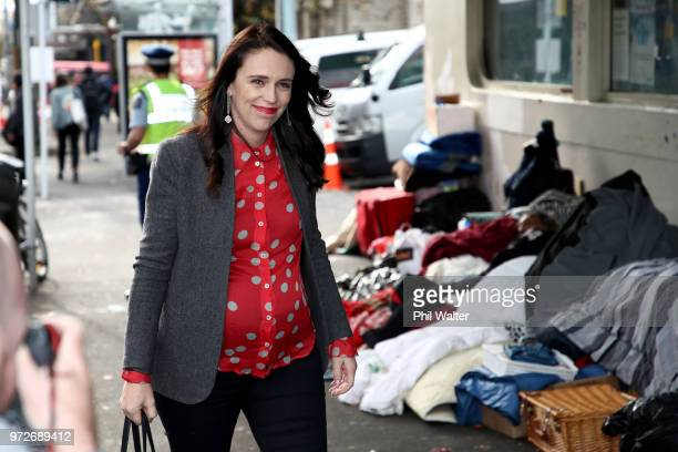 New Zealand Prime Minister Jacinda Ardern arrives at Auckland City Mission on June 13 2018 in Auckland New Zealand Prime Minister Jacinda Ardern has...
