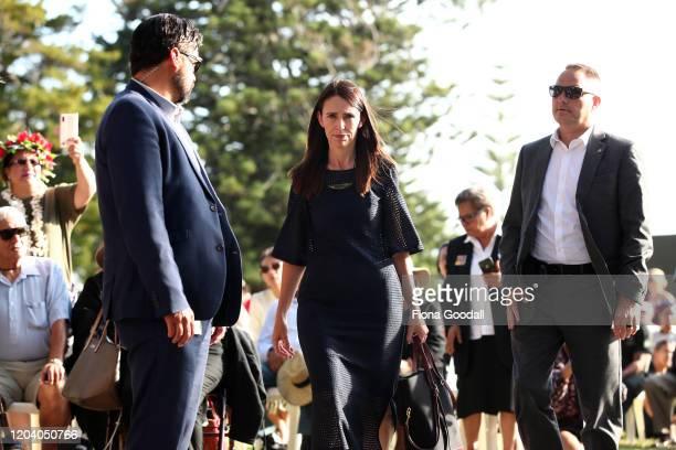 New Zealand Prime Minister Jacinda Ardern arrives at the opening of Te Rau Aroha on February 05 2020 in Waitangi New Zealand The $146 million Maori...