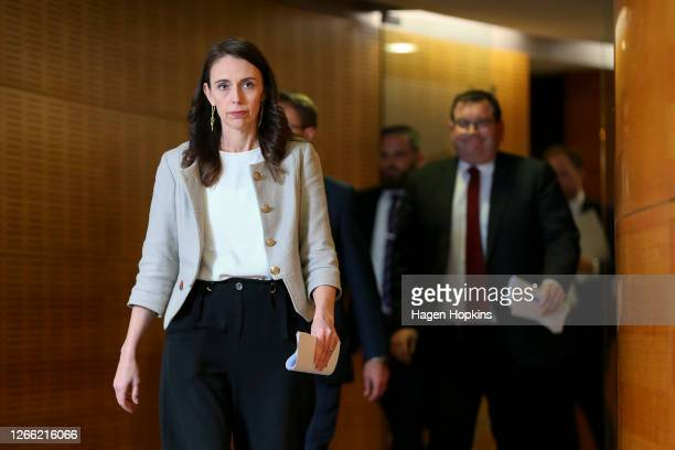New Zealand Prime Minister Jacinda Ardern arrives during a press conference on August 14, 2020 in Wellington, New Zealand. Cabinet has decided to...
