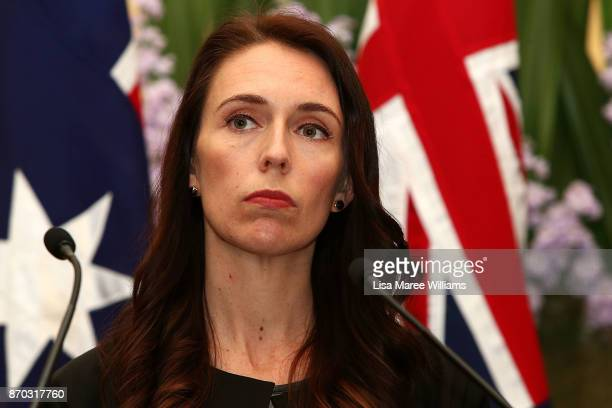 New Zealand Prime Minister Jacinda Ardern attends a press conference at Kirribilli House on November 5, 2017 in Sydney, Australia. The new New...