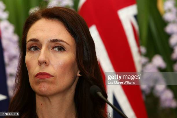 New Zealand Prime Minister Jacinda Ardern attends a press conference at Kirribilli House on November 5 2017 in Sydney Australia The new New Zealand...