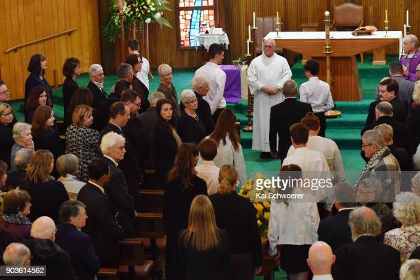 New Zealand Prime Minister Jacinda Ardern attends the funeral service for former Deputy Prime Minister Jim Anderton on January 11 2018 in...