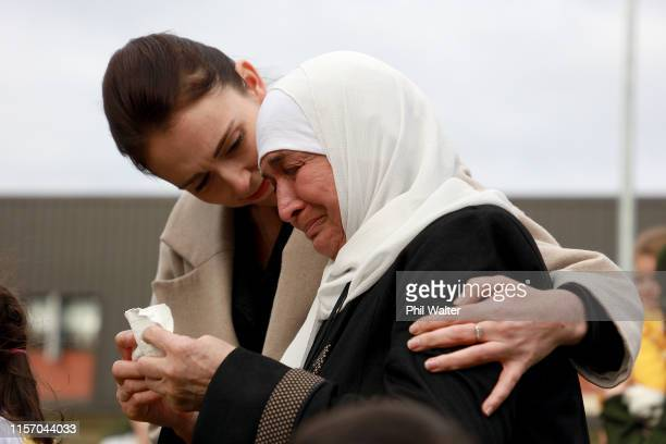 New Zealand Prime Minister Jacinda Ardern consoles Nadia Stas who lost her son in law and a grandchild in the Christchurch terror attacks as the...