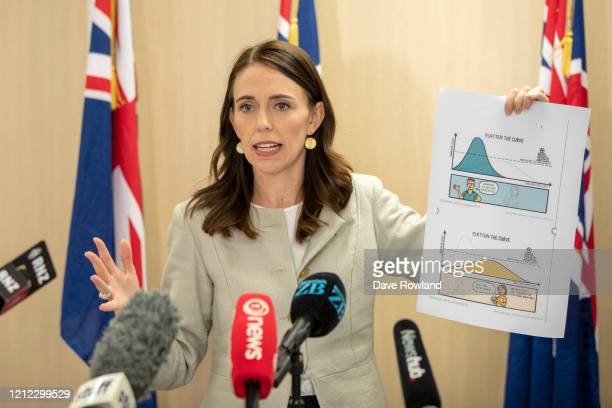 New Zealand Prime Minister Jacinda Ardern displays a graph during a press conference on March 14, 2020 in Auckland, New Zealand. Ardern explained how...