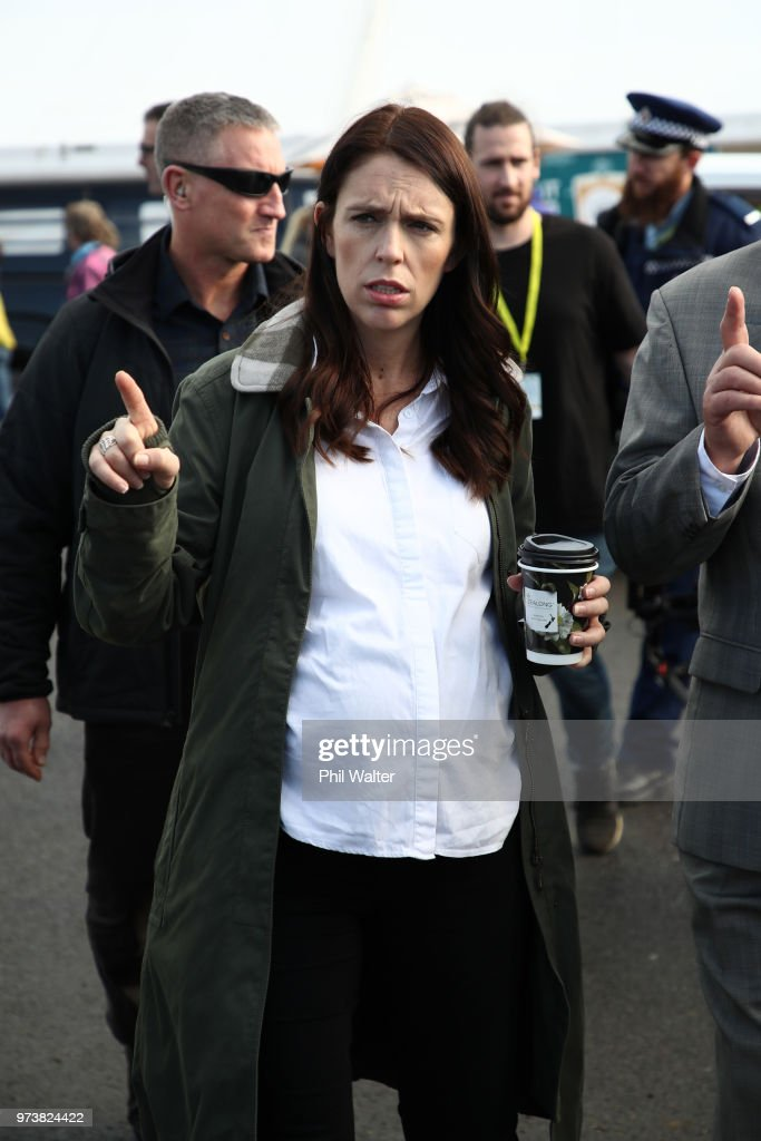 New Zealand Prime Minister Jacinda Ardern during a walkabout at the Mystery Creek Fieldays on June 14, 2018 in Hamilton, New Zealand. The public appearance is expected to be the Prime Ministers last before giving birth to her baby due on Sunday.