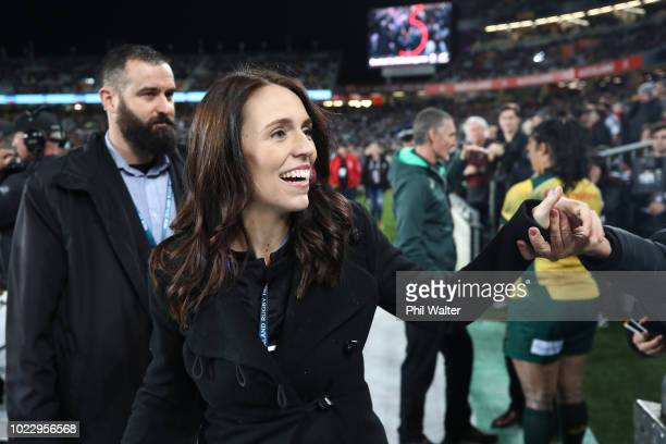 New Zealand Prime Minister Jacinda Ardern during The Rugby Championship game between the New Zealand All Blacks and the Australia Wallabies at Eden...
