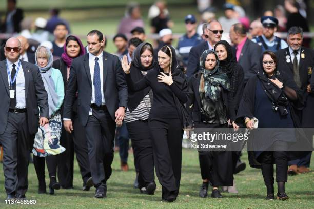 New Zealand Prime Minister Jacinda Ardern greets members of the public after attending islamic prayers in Hagley Park near Al Noor mosque on March 22...