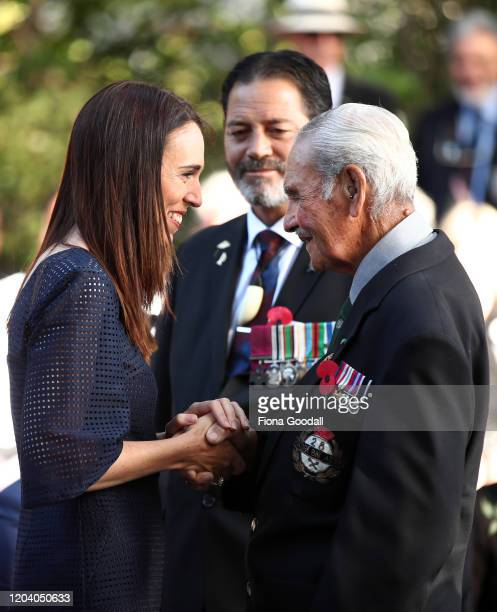 New Zealand Prime Minister Jacinda Ardern greets Robert Bom Gillies one of only two surviving members of the Maori Battalion with Willie Apiata VC at...
