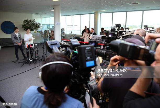 New Zealand Prime Minister Jacinda Ardern her partner Clarke Gayford and their baby daugther Neve Te Aroha Ardern Gayford attend a press conference...