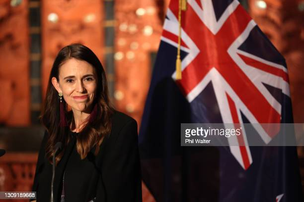 New Zealand Prime Minister Jacinda Ardern holds a joint press conference with Cook Islands Prime Minister Mark Brown at the Auckland War Memorial...