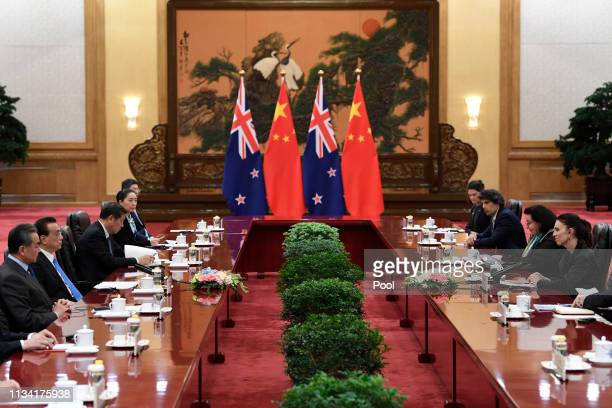 New Zealand Prime Minister Jacinda Ardern holds a meeting with Chinese Premier Li Keqiang at the Great Hall of the People in Beijing, China April 1,...