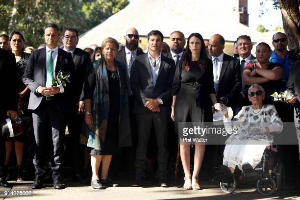 New Zealand Prime Minister Jacinda Ardern holds hands with Titewhai Harawira alongside her partner Clarke Gayford and Green Party Leader James Shaw...