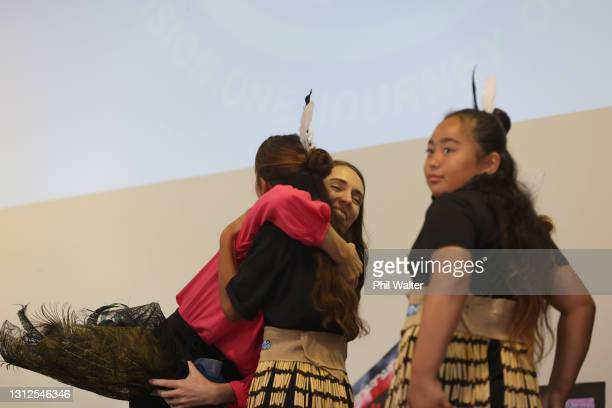 New Zealand Prime Minister Jacinda Ardern hugs students at the Homai School in Manurewa on April 15, 2021 in Auckland, New Zealand. The NZ Government...