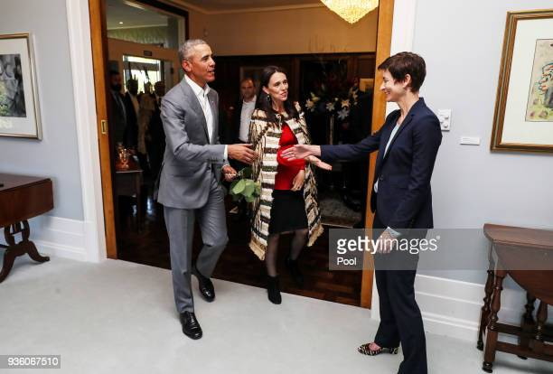New Zealand Prime Minister Jacinda Ardern introduces her policy advisor Paula Wilson to Barack Obama at Government House on March 22 2018 in Auckland...