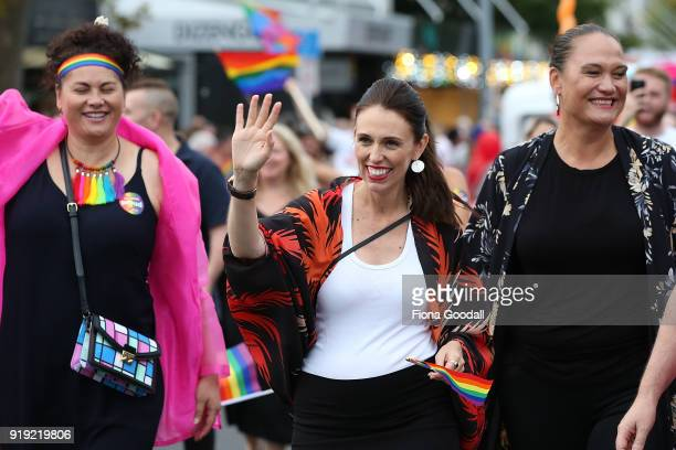 New Zealand Prime Minister Jacinda Ardern is the first PM to walk in the Pride Parade on February 17 2018 in Auckland New Zealand The Auckland Pride...