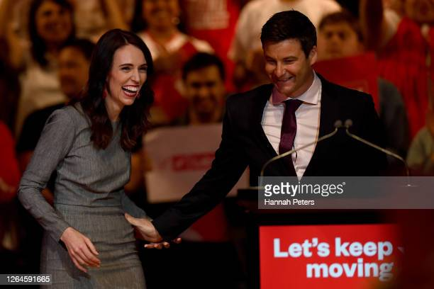 New Zealand Prime Minister Jacinda Ardern is welcomed to the stage by partner Clarke Gayford at the Labour Party 2020 election campaign launch on...