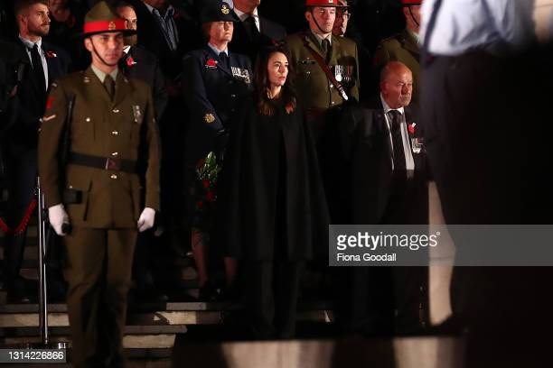 New Zealand Prime Minister Jacinda Ardern joins the gathering to commemorate Anzac Day at the Auckland War Memorial Museum on April 25, 2021 in...