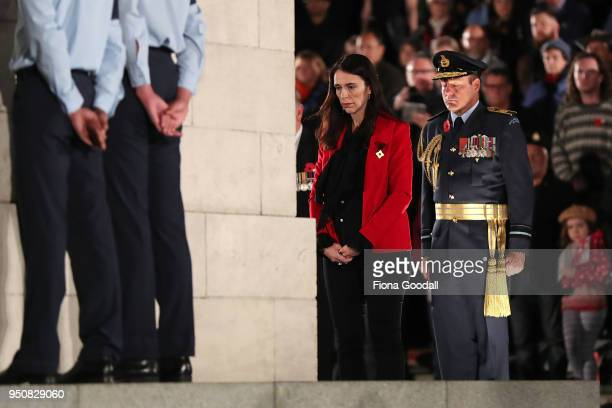New Zealand Prime Minister Jacinda Ardern lays a wreath at the Auckland War Memorial Museum Cenotaph on April 25 2018 in Auckland New Zealand In 1916...