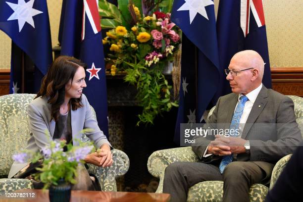 New Zealand Prime Minister Jacinda Ardern meets Australia's GovernorGeneral David Hurley at Admiralty House on February 28 2020 in Sydney Australia...