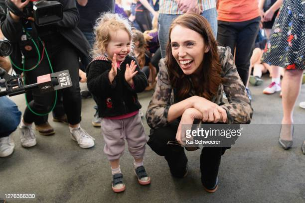 New Zealand Prime Minister Jacinda Ardern meets members of the public during a visit to Rāwhiti Domain Canopy on September 24 2020 in Christchurch...
