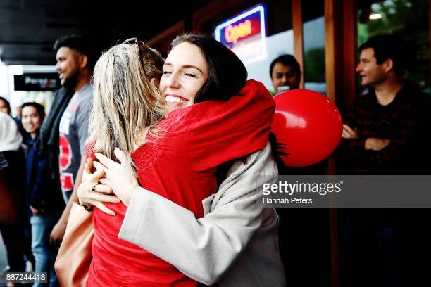 New Zealand Prime Minister Jacinda Ardern meets people at the Sandringham street festival on October 28 2017 in Auckland New Zealand Jacinda Ardern...