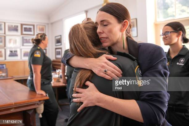 New Zealand Prime Minister Jacinda Ardern meets with first responders at the Whakatane Fire Station on December 10, 2019 in Whakatane, New Zealand....