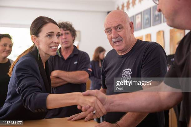New Zealand Prime Minister Jacinda Ardern meets with first responders at the Whakatane Fire Station on December 10 2019 in Whakatane New Zealand Five...