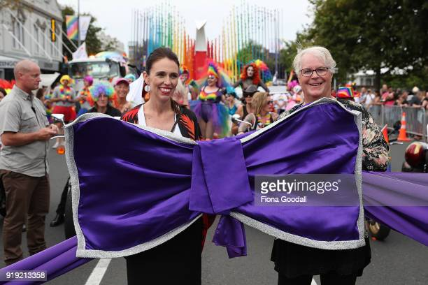 New Zealand Prime Minister Jacinda Ardern opens the Pride Parade on February 17 2018 in Auckland New Zealand The Auckland Pride Parade is part of the...
