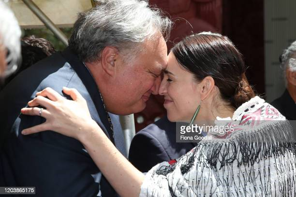 New Zealand Prime Minister Jacinda Ardern performs a hongi with guests at the upper Treaty grounds at Waitangi on February 04, 2020 in Waitangi, New...